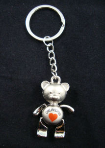 Promotional Moveable Leg Bear Pendant Metal Keychain Souvenir Keyrings