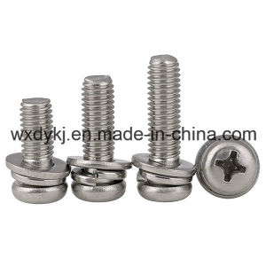 Ss304 Cross Recessed Pan Head Screw with Captive Spring Washer and Plain Washer pictures & photos