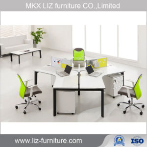 Modern 3 Person Office Cubicle Parion Workstation With Metal Frame Bt04