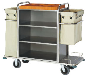 Stainless Steel Housekeeping Trolley with Brush Finish pictures & photos