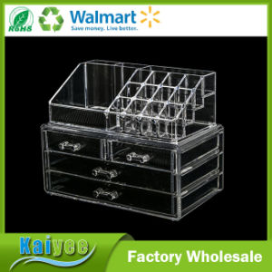 Clear Acrylic Cosmetic & Jewelry 2-Piece Storage Organizer (Rectangular Top + 4 Drawers) pictures & photos