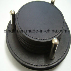 Promotion Gift Genuine Leather Black Circle Cup Mat Coaster (QL-BD-0018)