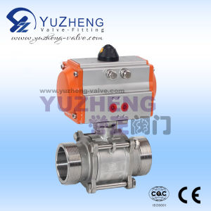 3PC Male Thread Ball Valve with Pneumatic Actuator pictures & photos