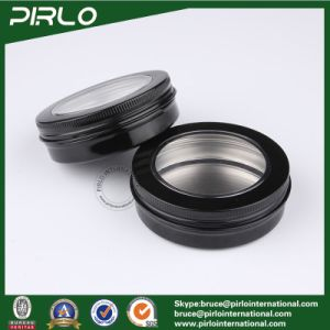 100g 3.3oz Cosmetic Cream Packing Aluminum Pot Skin Care Cream Hair Wax Use Black Color Aluminum Jar with Window Cap pictures & photos