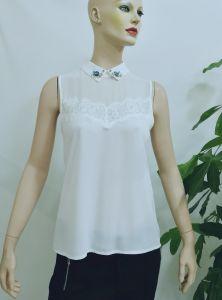 China 2017 Blouse Women Summer White Peter Pan Collar Sleeveless