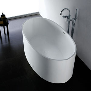 Soaking Bathtub for Freestanding Installations with Center Drain