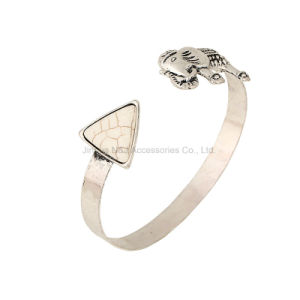 Vintage Punk Antique Silver Plated Carving Open Bangles Geometric Triangle Upper Arm Cuff Bracelets for Women Punk Jewelry