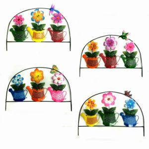 Metal Outdoor Decoration Bright Colored Fence with Cloth Flower