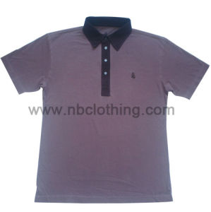 Mens Woven Neck Pigment Dyeing Polo Shirt (MT-07-02)