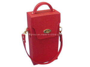 New Design Portable Red Leather Wine Box PU Wine Carrier pictures & photos