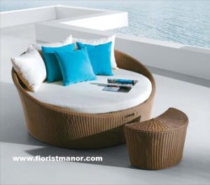 China Round Rattan Garden Patio Outdoor Furniture Daybed Sofa Set