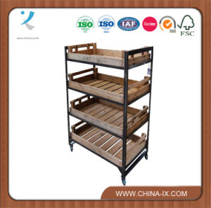 4 Shelves Metal Merchandising Unit with Wooden Trays pictures & photos