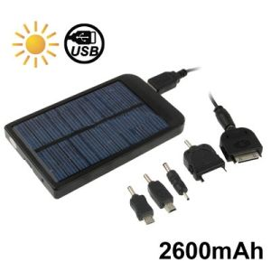Solar Energy Charger for iPhone / iPad / iPod Touch, MP3 / MP4, Digital Camera and Other Mobile Phone, Solar Panel: 0.7W, Built-in Lithium Battery: 2600mAh