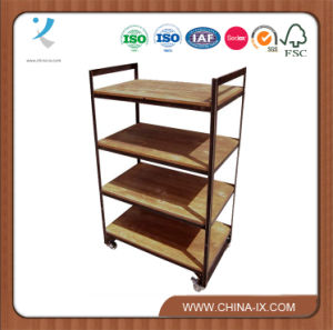 Wide Trolley Retail Display Unit with 4 Shelves