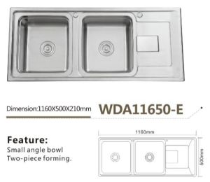 Stainless Steel Kitchen Sink Double Bowl Wda11650-E