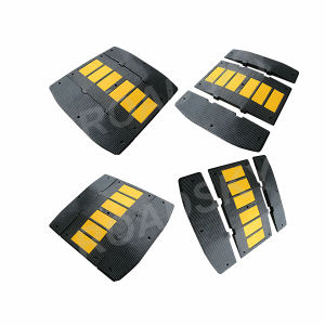 Economic 500mm Width Black and Yellow Reflective Parking Bumps pictures & photos