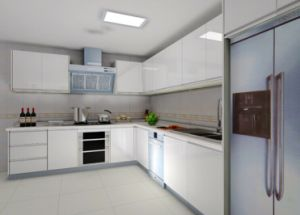 High Glsosy Uv Finished White Kitchen Cabinet Design 20 Days To Ship