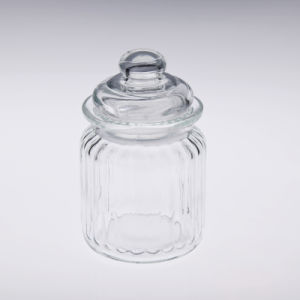 Rib Glass Container with Glass Lid pictures & photos