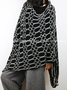 Acrylic Fashion Lady Winter Warm Gray Striped Fringed Knitted Shawl pictures & photos