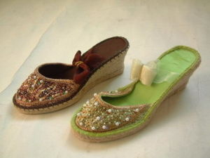 Beautiful Jute Sandals with Beads Upside and Jute Sole (CH2328)