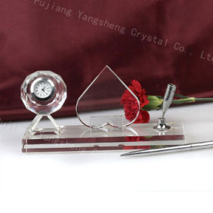 Office Table Crystal Heart Shaped Pen Hole New Style Customization