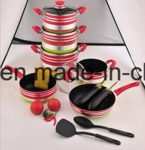 Coated Alloy Aluminium Non-Stick Frying Pan & Pot Stockpot for Cookware Sets Sx-T011