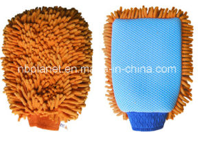 Single Side Chenille & Netted Cloth Car Cleaning Glove pictures & photos