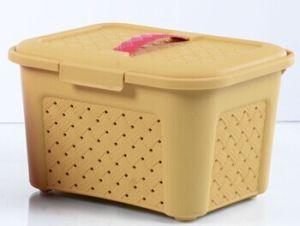 Plastic Storage Basket With Lid (LE54364)