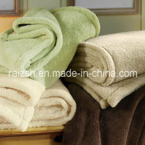 100% Polyester Plain Dyed Embroidery Logo Coral Fleece Blanket
