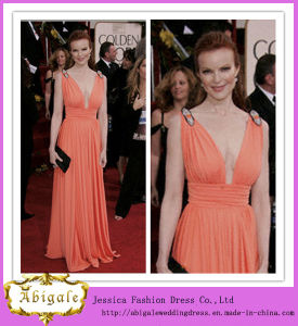 2013 Custom Made V-Neck Chiffon Floor Length Ruffles Celebrity Dress (SR76)