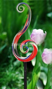 Hand Blown Glass Garden Art, Glass Flower Garden Sculpture (GS1004MU)
