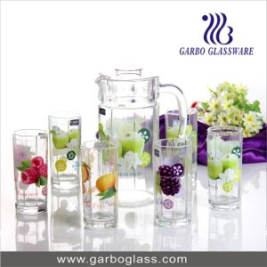 Nice Glass Drinking Ware Set, 7 PCS Water Set with Decal Flower, Lemon Set for Juice pictures & photos