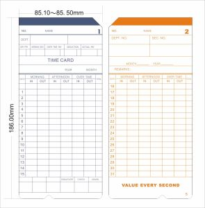 High Quality Time Recorder Time Card