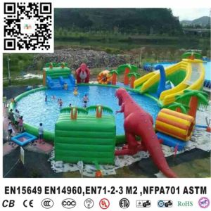 China New Design Dinosaur Inflatable Water Slide with Big Pool Water