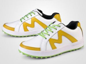 Women Rubber Genuine Leather Cotton Fabric Lace-up Golf Shoes (AKGS12) pictures & photos