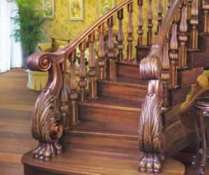 C&L Brown Color Classic Style Wooden Stairs Hand Rails