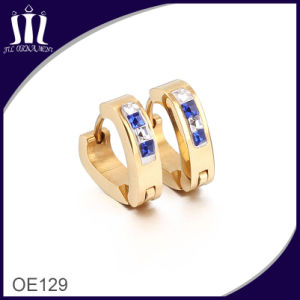 Hypo-Allergenic Stainless Steel Rose Hollow out Sapphire Earrings pictures & photos