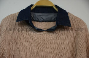 Denim Collar Scallop Cropped Sweater Petite Clothing pictures & photos