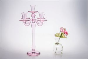 Pink Five Poster Glass Candle Holder for Wedding Decoration pictures & photos