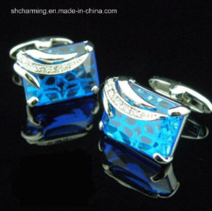 Royal Blue White Crystal Gold Mens Wedding Party Cufflinks
