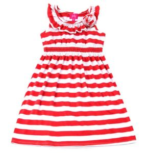 Yarn Dyed Stripe Pattern Girls Dress for Children Girls Clothes