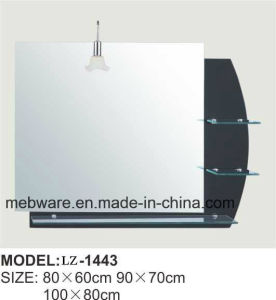 China Bathroom Mirror Light Decorative Shelf Black Bathroom