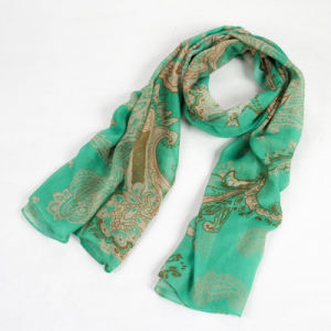 Fashion Autumn Long Polyester Voile Women Green Scarf