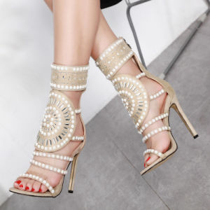 75c8647cabc Summer of 2018, The Ladies ′new Fashion Hollow Water Drill High-Heeled  Sandals with Fish-Mouthed Fine-Heeled High-Heeled Roman Mesh Boots