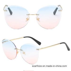 Mirror Cat Eye Women Rimless Sunglasses Fashion Luxury For Women Brand Designer