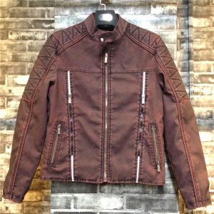 Siyu August New Products Brown Man PU Leather Zipper Jackets pictures & photos
