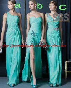 China Mint Green One Shoulder Birdesmaid Dress for Wedding Split ...