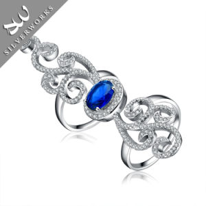 Fashion 925 Silver Diamand Silver Charm Gemstone Lady Ring