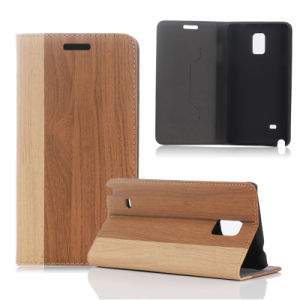 Hot Sales! High Quality Retro Stand Flip Leather Wooden Case for Samsung Galaxy&Apple iPhone