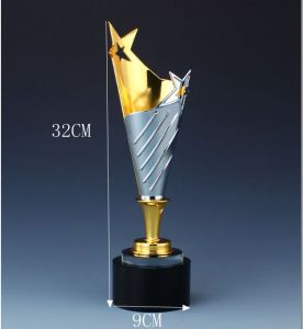 New High Grade Gold Plated Silverware Crystal Customization Pentagram Annual Awards Outstanding Employees Trophy